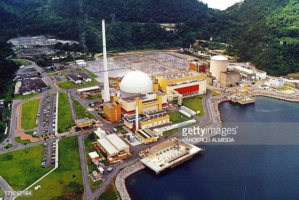 General view of the Angra 1 and Angra 2 nuclear power stations at Angra dos Reis 250 km Southern Rio de Janeiro 30 May 2005 Brazil expects to start...