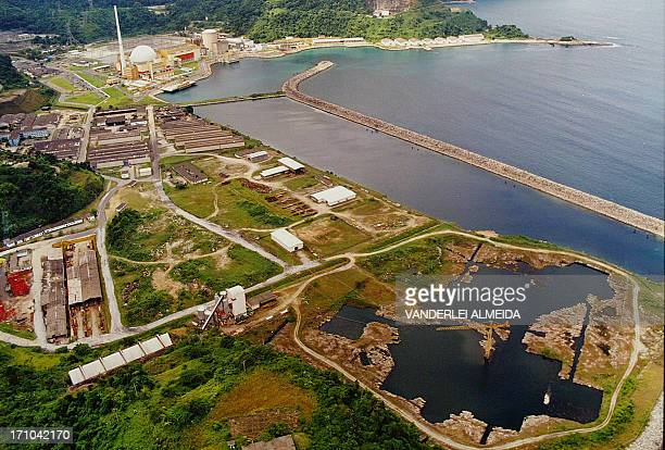DISTANCE General view of the Angra 1 and Angra 2 nuclear power stations at Angra dos Reis 250 km Southern Rio de Janeiro 30 May 2005 Brazil expects...