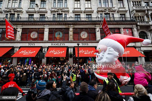 A general view of the annual Hamleys Christmas parade at Regent Street on November 28 2015 in London England