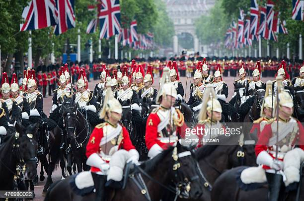 A general view of the annual Trooping The Colour ceremony at Horse Guards Parade on June 13 2015 in London England