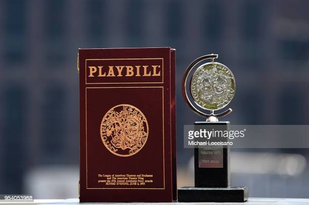 General view of The Antoinette Perry Award for Excellence in Broadway Theatre aka the Tony Award sits on the terrace outside the Tony Awards Suite...