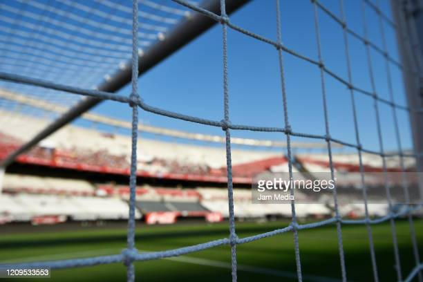 General view of the Antonio Vespucio Liberti Stadium behind the goal's net prior to a match between River Plate and Defensa y Justicia as part of...