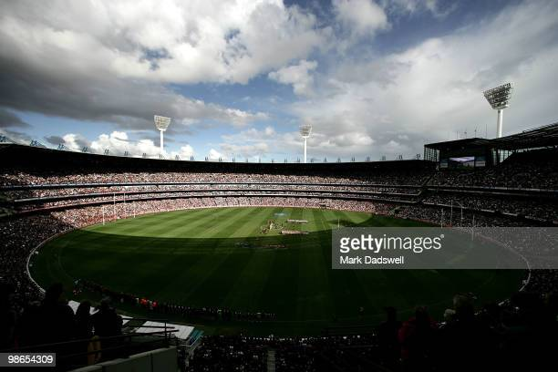A general view of the Anzac Day ceremony during the round five AFL match between the Collingwood Magpies and the Essendon Bombers at Melbourne...