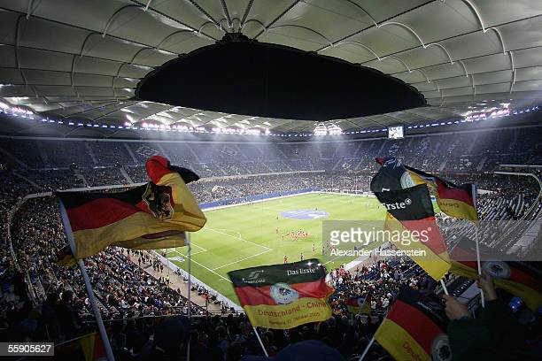 General view of the AOL Arena before the friendly game between Germany and China at the AOL Arena on October 12, 2005 in Hamburg, Germany.
