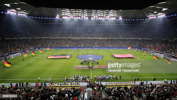 General view of the AOL Arena during the line-ups at the friendly game between Germany and China at the AOL Arena on October 12, 2005 in Hamburg,...