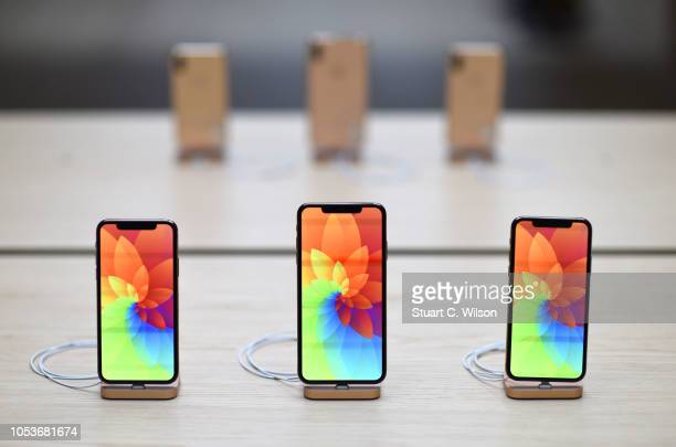 General view of the Apple IPhone XR during the Covent Garden reopening and iPhone XR launch at Apple store Covent Garden on October 26 2018 in London...