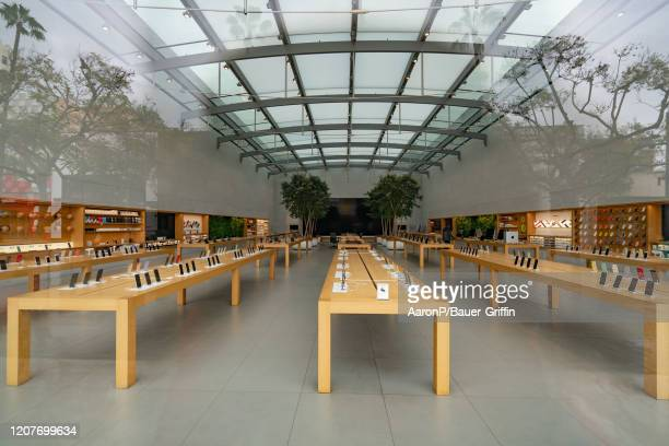 A general view of the Apple Store at the 3rd Street Promenade in Santa Monica after Los Angeles ordered the closure of all entertainment venues...