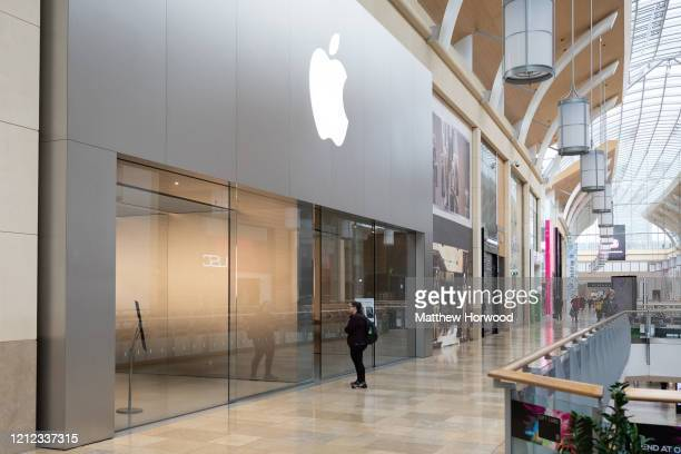 General view of the Apple store on March 14, 2020 in Cardiff, United Kingdom. Apple have announced that all stores outside of Greater China will be...