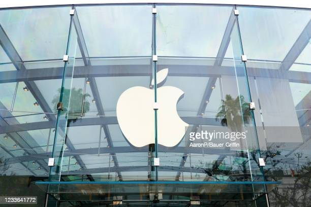 General view of the Apple Store on the 3rd Street Promenade on June 24, 2021 in Santa Monica, California.