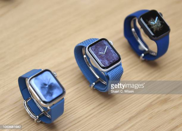 General view of the Apple Watch during the Apple Covent Garden reopening and iPhone XR launch at Apple store Covent Garden on October 26 2018 in...