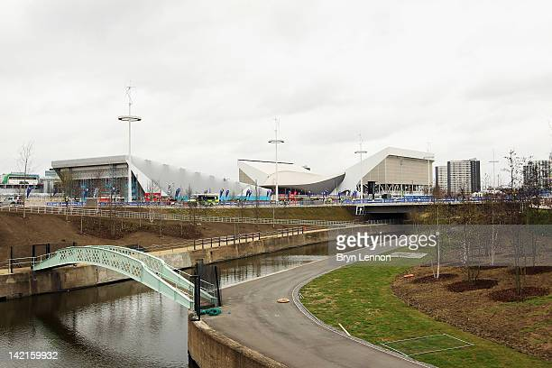 General view of the Aquatics Centre during the National Lottery Olympic Park Run at Olympic Stadium on March 31, 2012 in London, England.