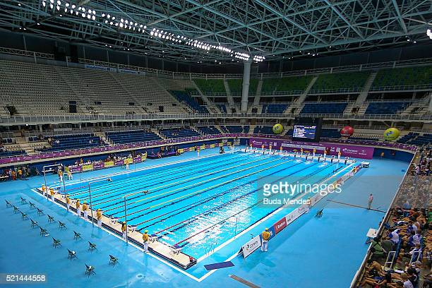 General view of the Aquatics Centre during the the Aquece Rio Test Event for the Rio 2016 Olympics at the Olympic Park on April 15, 2016 in Rio de...