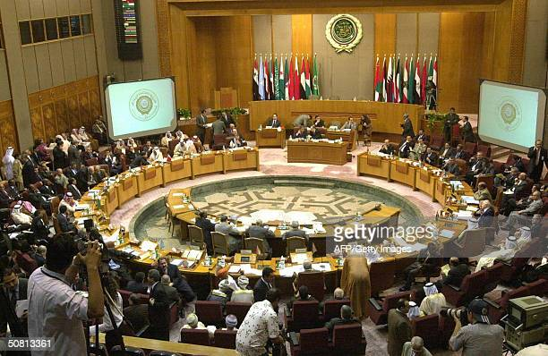 General view of the Arab foreign ministers meeting at Arab League headquarters in Cairo 08 May 2004 ahead of the planned 2223 May Arab summit in...