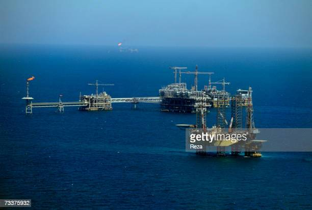 General View of the Aramco offshore oil rig 'Marjan 2' in the Persian Gulf on March 2003 in Persian Gulf Saudi Arabia