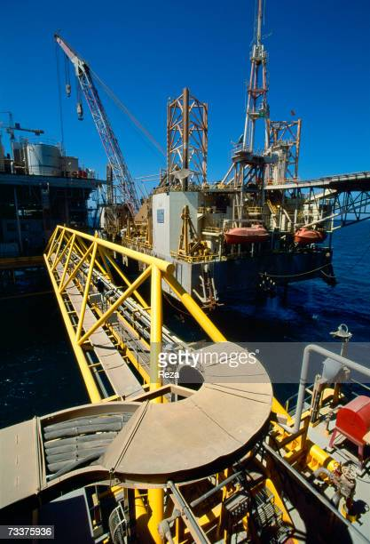 General View of the Aramco offshore oil rig Marjan 2 in the Persian Gulf on March 2003 in Persian Gulf Saudi Arabia