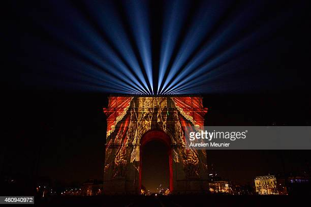 A general view of the Arc de Triomphe during the New Year's Celebration on the ChampsElysees on December 31 2014 in Paris France