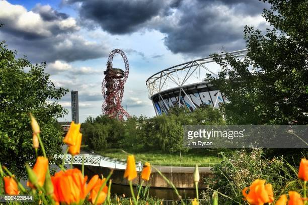 A general view of the ArcelorMittal Orbit beside the London Stadium in the Queen Elizabeth Olympic Park prior to a performance by Depeche Mode on...
