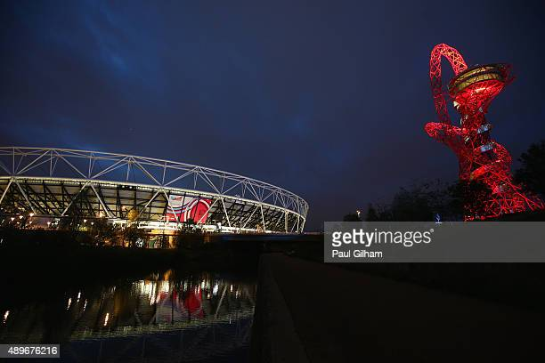 A general view of the ArcelorMittal Orbit outside the ground prior to the 2015 Rugby World Cup Pool D match between France and Romania at the Olympic...