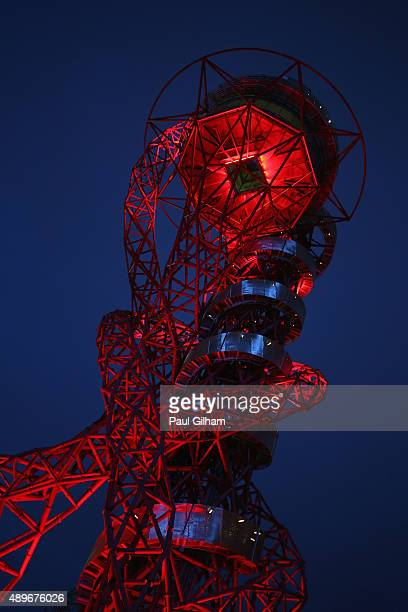 A general view of the ArcelorMittal Orbit prior to the 2015 Rugby World Cup Pool D match between France and Romania at the Olympic Stadium on...