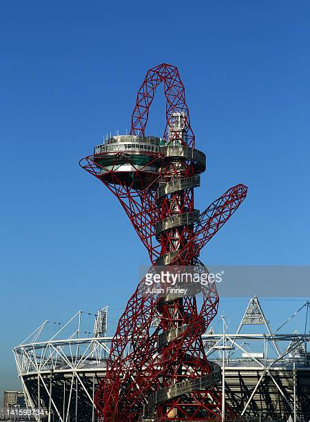 A general view of the ArcelorMittal Orbit Sculpture and the Olympic Stadium on March 19 2012 in London England