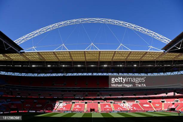 General view of the arch inside the stadium prior to the Semi Final of the Emirates FA Cup match between Manchester City and Chelsea FC at Wembley...