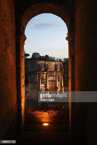 A general view of the Arch of Constantine as Pope Francis leads the Way of The Cross at the Colosseum on April 3 2015 in Rome Italy The Way of the...