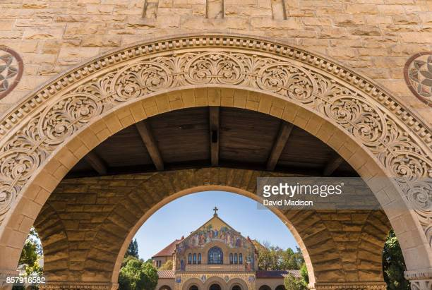 A general view of the arches of the Main Quadrangle and Memorial Church on the Stanford University campus before a NCAA Pac12 football game between...