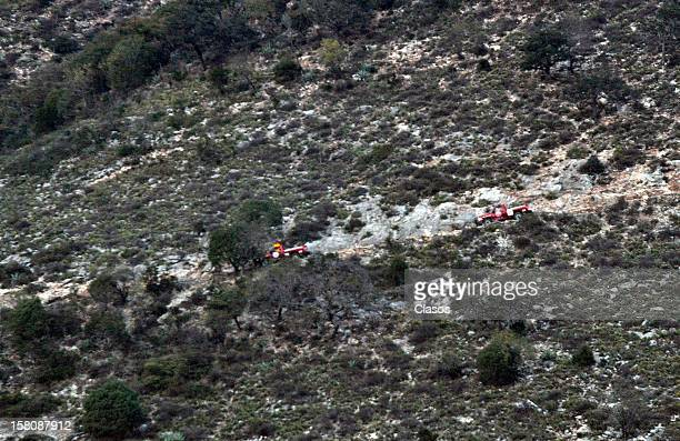General view of the area where the plane where the mexican singer Jenni Rivera was flying crashed close to the Tejocote Ranch on December 09 2012 in...