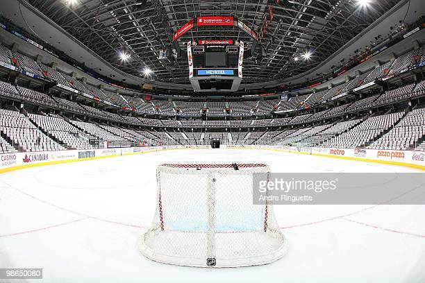 General view of the arena after rally towels have been laid on every seat prior to the matchup between the Ottawa Senators and the Pittsburgh...