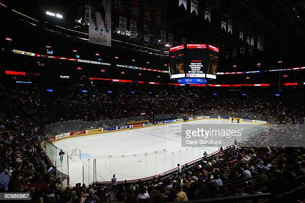 General view of the arena and ice surface before game four of the eastern conference semifinals between the Tampa Bay Lightning and the Montreal...