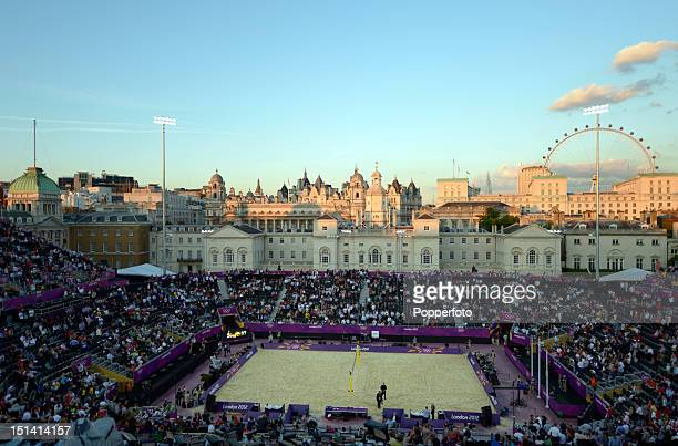 General view of the arena and the Westminster skyline at twilight prior to the start of the Women's Beach Volleyball Gold Medal Match on Day 12 of...