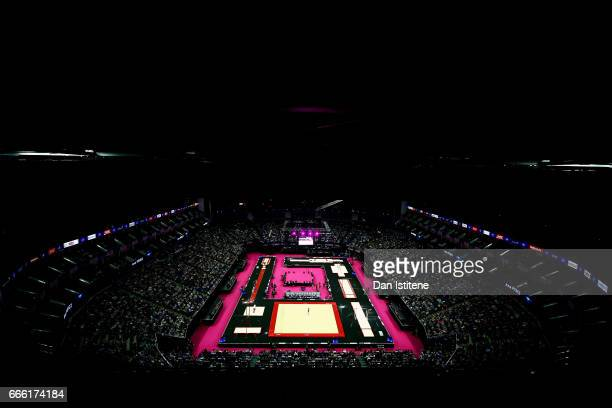 A general view of the arena as Ana Perez of Spain competes on the floor during the women's competition for the iPro Sport World Cup of Gymnastics at...