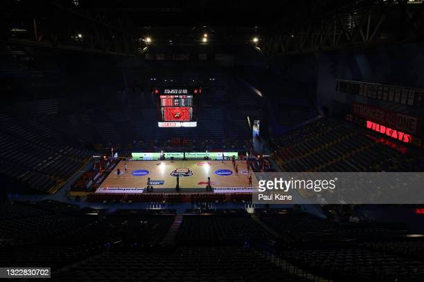 General view of the arena as players warm up prior to game one of the NBL Semi-Final Series between the Perth Wildcats and the Illawarra Hawks at RAC...