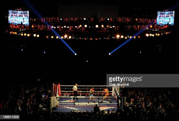 A general view of the arena as Ricky Hatton of Great Britain takes on Vyacheslav Senchenko of Ukraine during their welterweight bout at MEN Arena on...