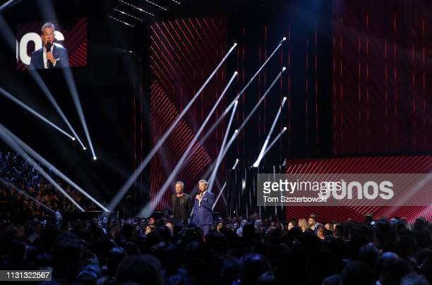 A general view of the arena as Sting and David Foster speak before presenting the award for RB / Soul Recording of the Year during the 2019 Juno...