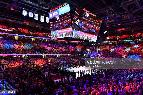 A general view of the arena as the national anthem is performed before Game Four of the 2018 NBA Eastern Conference Finals between the Cleveland...