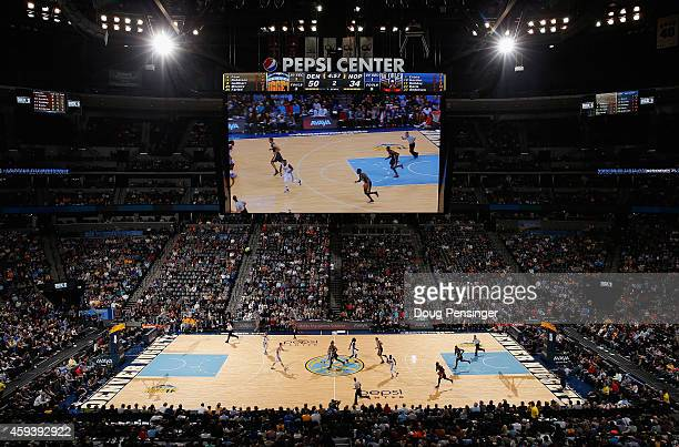 A general view of the arena as the New Orleans Pelicans face the Denver Nuggets at Pepsi Center on November 21 2014 in Denver Colorado The Nuggets...