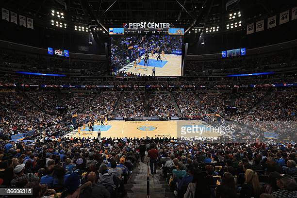 A general view of the arena as the Portland Trail Blazers face the Denver Nuggets at Pepsi Center on November 1 2013 in Denver Colorado The Trail...