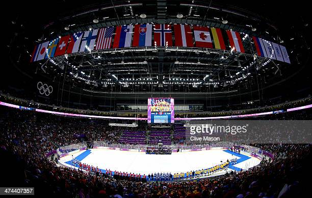 General view of the arena as the team's line up to receive their medals during the Men's Ice Hockey Gold Medal match on Day 16 of the 2014 Sochi...