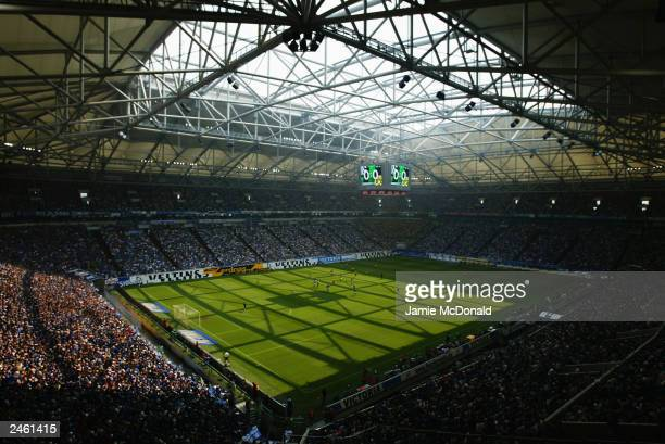General view of the Arena AufSchalke taken during the German Bundesliga match between FC Schalke 04 and Borussia Dortmund held on August 2, 2003 at...