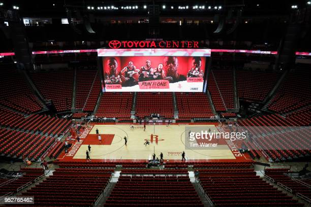 A general view of the arena before Game One of the Western Conference Semifinals of the 2018 NBA Playoffs between the Houston Rockets and the Utah...