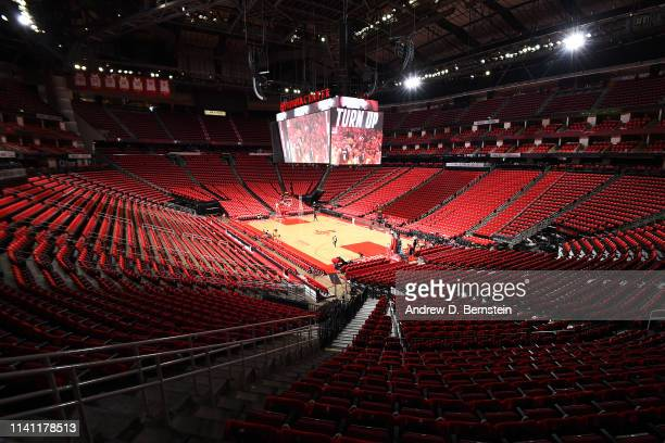 A general view of the arena before Game Three of the Western Conference Semifinals between the Golden State Warriors and the Houston Rockets during...