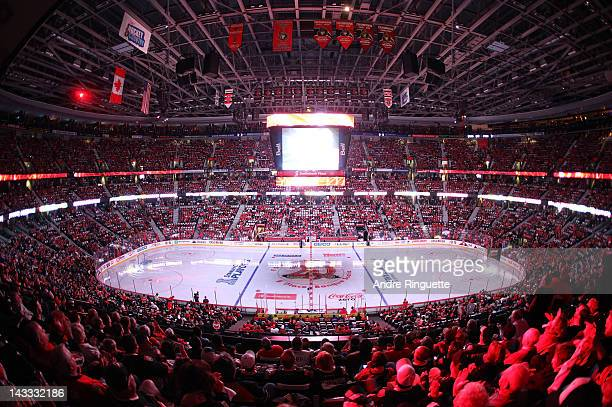 A general view of the arena before the first home game between the Ottawa Senators and the New York Rangers in Game Three of the Eastern Conference...