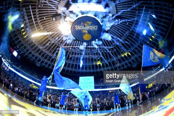 A general view of the arena before the game between the Dallas Mavericks and the Golden State Warriors on December 14 2017 at ORACLE Arena in Oakland...