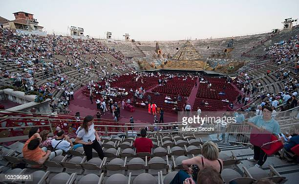 A general view of the Arena before the performance of 'Aida' on August 8 2010 in Verona Italy The city of Verona is hosting the 88th Annual Opera...