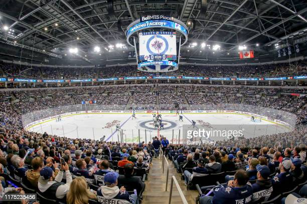 General view of the arena bowl during the opening face-off between the Winnipeg Jets and the Minnesota Wild at the Bell MTS Place on October 10, 2019...