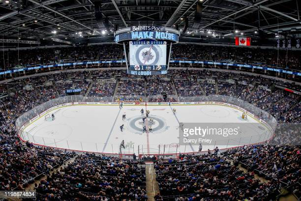 General view of the arena bowl during the opening face-off for second period action between the Winnipeg Jets and the Nashville Predators at the Bell...