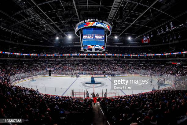 A general view of the arena bowl prior to puck drop on WASAC Night between the Winnipeg Jets and the Ottawa Senators at the Bell MTS Place on...
