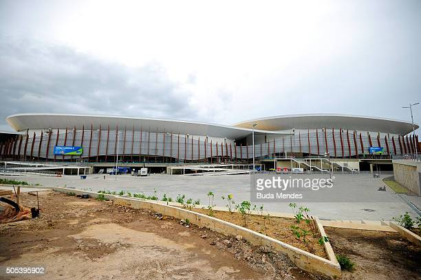A general view of the Arena Carioca 1 and 2 at the Olympic Park during International Womens Basketball Tournament as a test event for the Rio 2016...