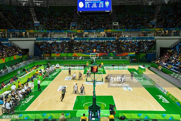 General view of the Arena Carioca 1 during Wheelchair Basketball match United States against Algeria in Rio 2016 Paralympics on September 11 2016 in...